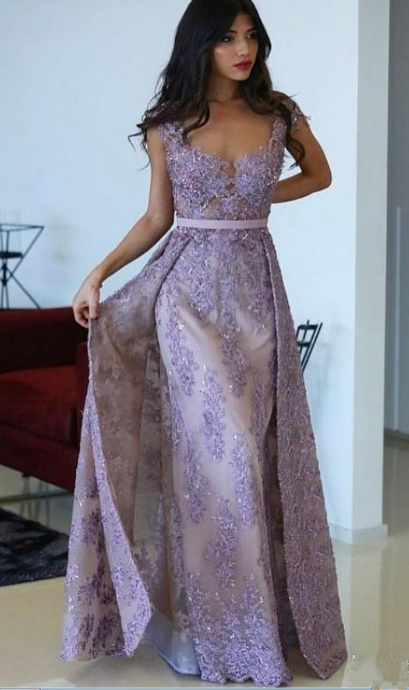 4b2820e200327 Purple Evening Gowns, Detachable Train Lace Applique Prom Dress , Sheer  Jewel Neck Dresses ,
