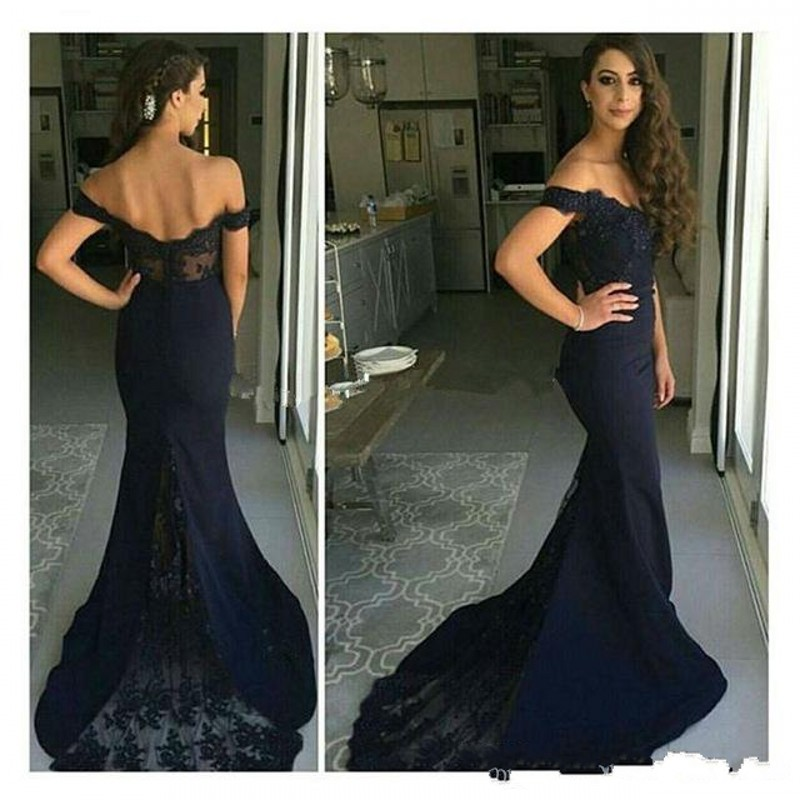 3f3f30ff5b9 Black Lace Off The Shoulder Prom Dress