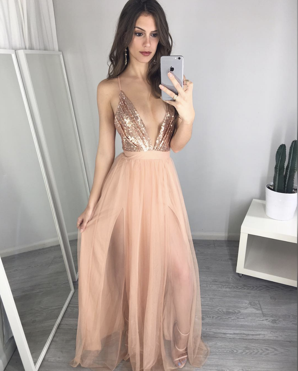 7caf0f33 Custom Color Formal Dresses, Formal Gowns, Evening Dresses,Sexy v neck  sequins long