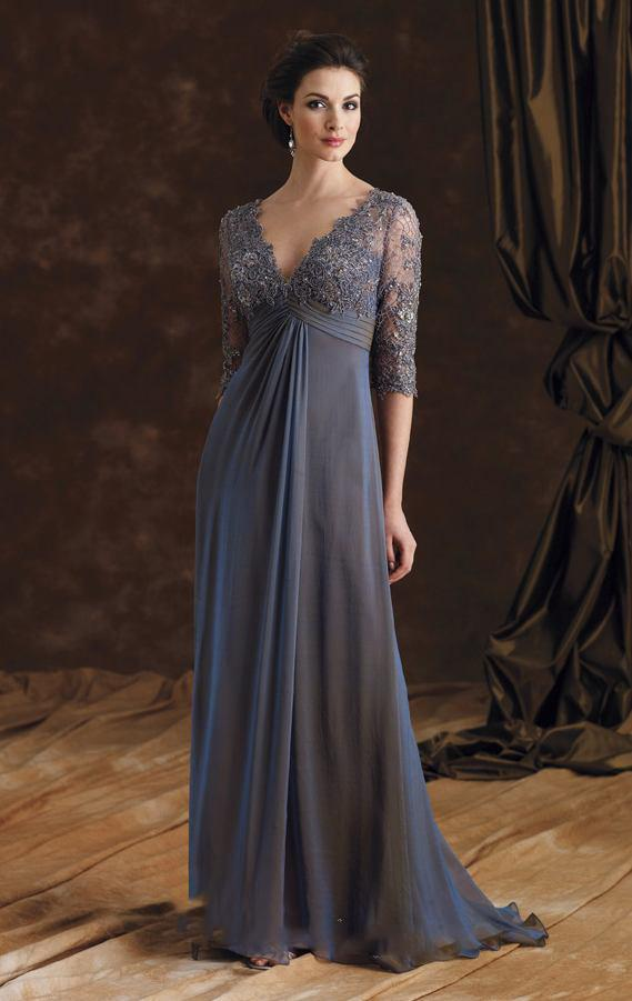 1fa5814819 Sexy V Neck Grey Lace Long Mother Of The Bride Dresses