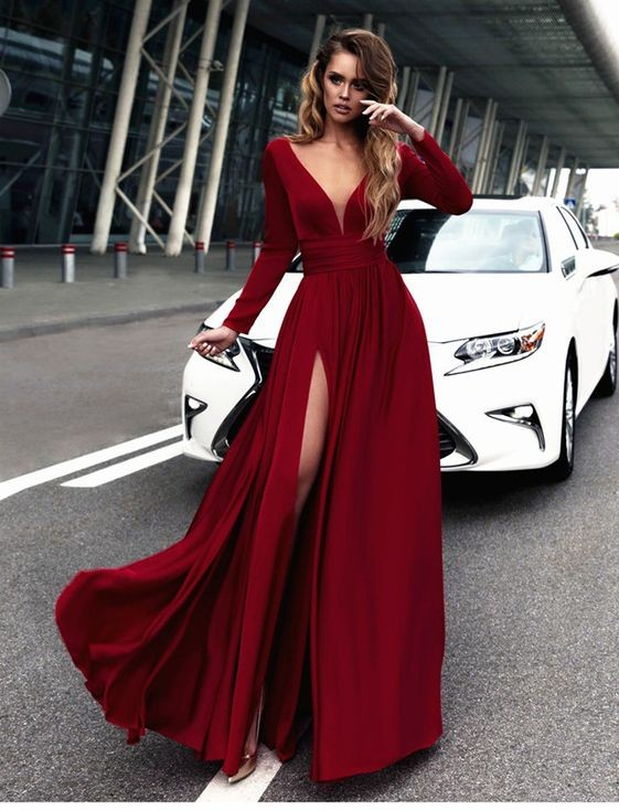 0edba2a0bdce Dark Red Long Sleeve V-Neck Splits Formal Dresses on Luulla