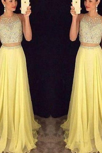 Yellow long prom dress,elegant A-line 2 pieces long prom gown