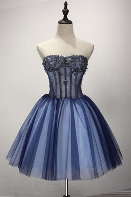 Navy Blue Sweetheart Neckline Corset Inspired Tulle Homecoming Dress