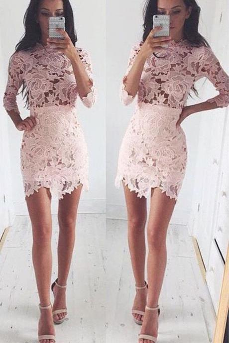 Custom Made Pink Lace Short Homecoming Dress with Quarter Sleeves