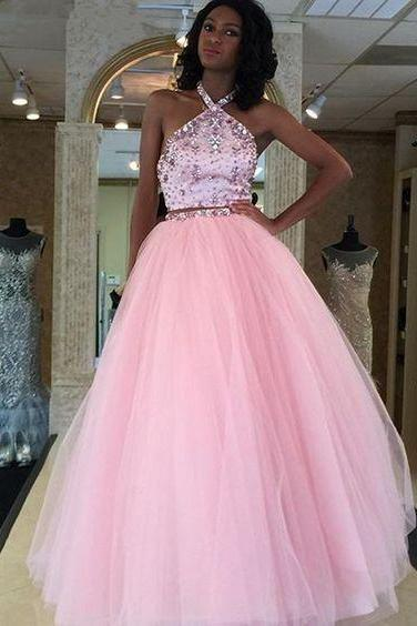 Prom Dress,Two Pieces Prom Dress, Beading Dress,Halter Evening Dress