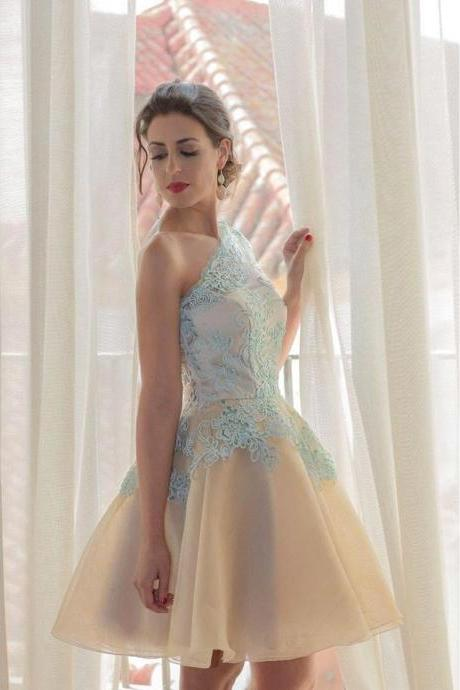 Homecoming Dress,Homecoming Dresses,One Shoulder Blue Lace Homecoming Dress,Sweetheart Backless Homecoming Dress