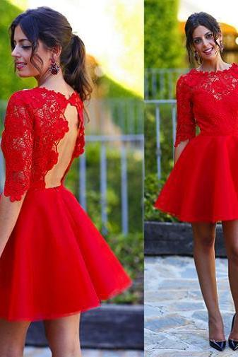 Homecoming Dress,Cocktail Dress,Homecoming Dresses,O Neck Lace And Organza Backless Lace Sexy Red Cocktail Dress