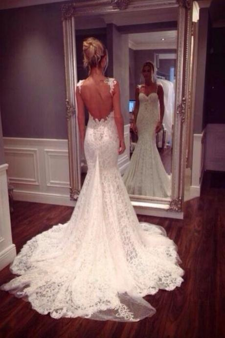 Backless wedding dresses gowns luulla lace sweetheart shoulder straps floor length mermaid wedding dress featuring open back and train junglespirit Gallery