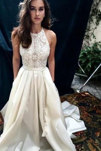 Custom Made White Sleeveless Lace and Satin A-Line Long Wedding Dress