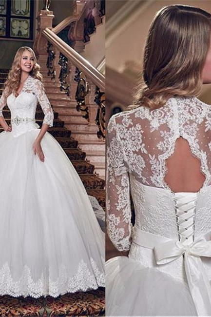 Wedding Dresses, Ball Gown Wedding Dresses, Elegant Wedding Dresses, Lace Wedding Gown , Ivory Wedding Gowns , Half Sleeve Bridal Dresses