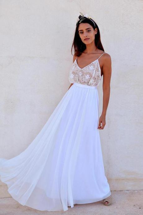 Fashion A-Line Spaghetti Straps Floor Length Prom Dress With Lace