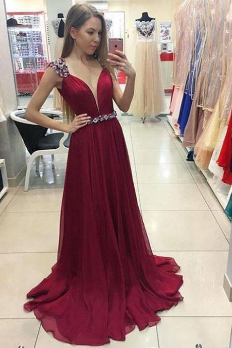 Unique A-Line V-Neck Cap Sleeves Burgundy Long Prom/Evening Dress With Beading