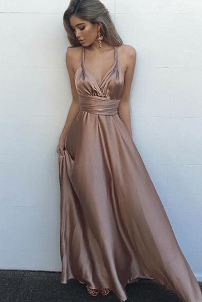 Sexy A-Line V-Neck Sleeveless Floor-Length Prom Dress