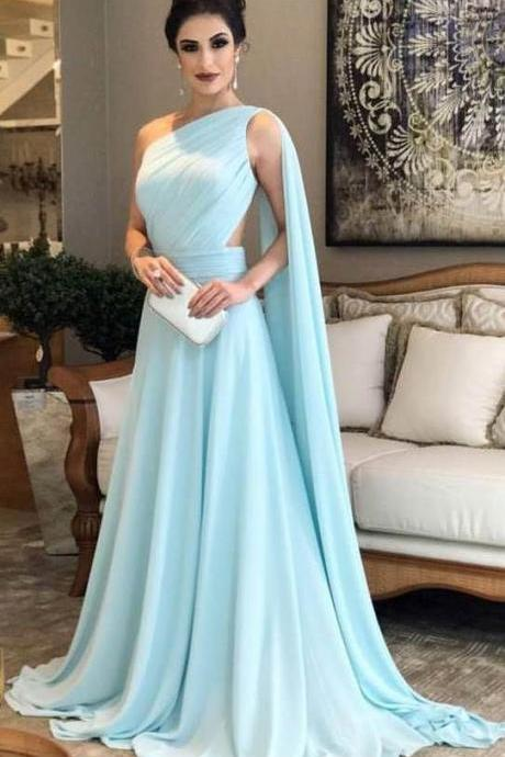 Light Blue Chiffon Prom Dress, One Shoulder Prom Dresses, Woman Formal Dresses, Evening Dresses for Woman, Mother of the Bride Dress, Wedding Guest Dresses