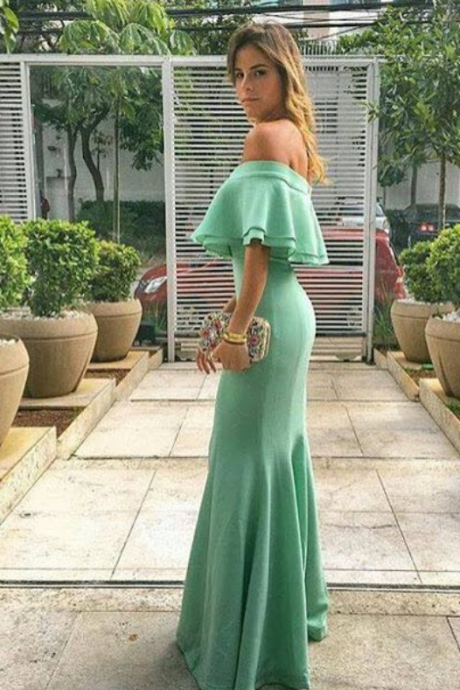 Spring Prom Dresses Mermaid Off the Shoulder Chiffon Graceful Evening Dresses Floor Length Party Dresses Ruffles Custom Made Prom Dress