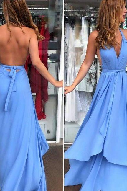 Backless Blue Maxi Dress Prom Dress