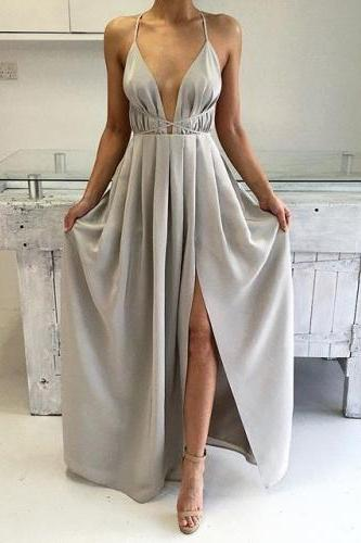 2018 Deep V Neck Long Maxi Dress