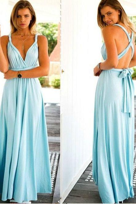 Sky Blue Chiffon Maxi Dress