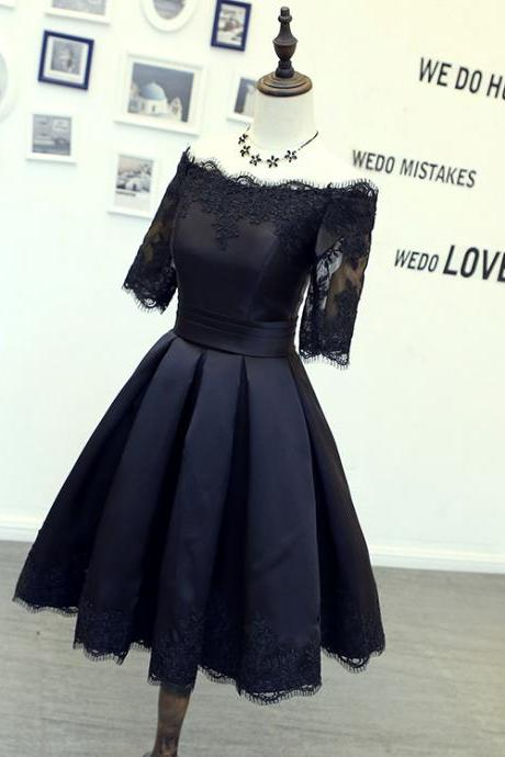 Black Lace Appliques Satin Off-The-Shoulder Half Sleeves Short Ruffled Skater Dress, LBD, Homecoming Dress