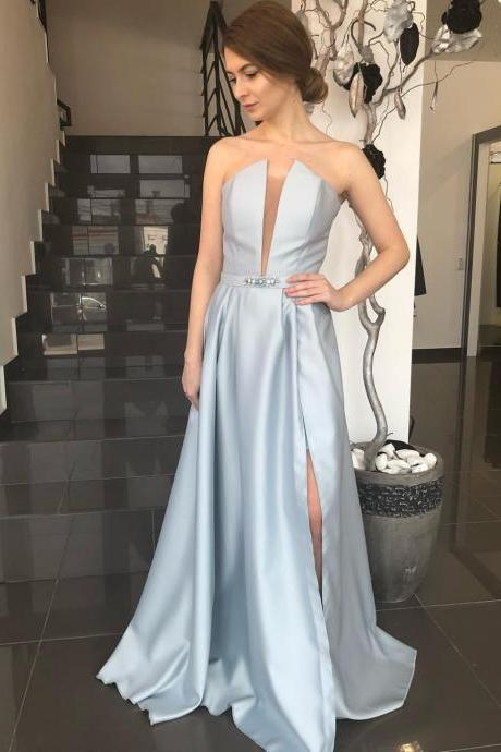 Gorgeous Plunging V Neck Formal Evening Gown Silver A Line Prom Dress With Side Slit