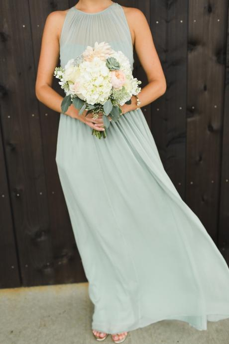 Sage Green Halter Ruched Chiffon Floor-Length A-line Bridesmaid Dress, Evening Dress