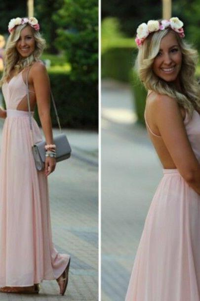 Pink Formal Dress,V neck Chiffon Bridesmaid Dress, Long Maxi Dress,Backless Prom Dress