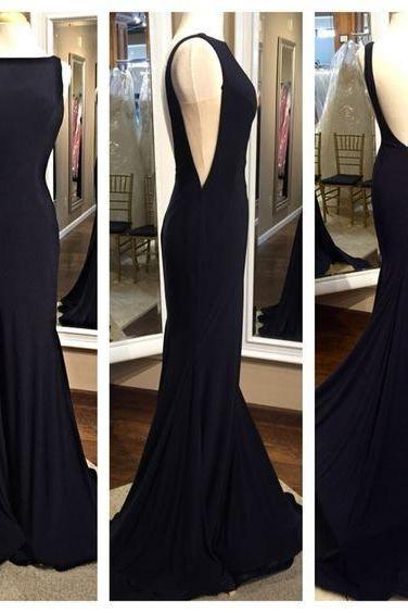 sexy black mermaid Prom Dresses,Sabrina Prom Dress,Backless Prom Dress,Chiffon Prom Dress,Mermaid Evening Dress,girls party dress, sexy prom Dresses