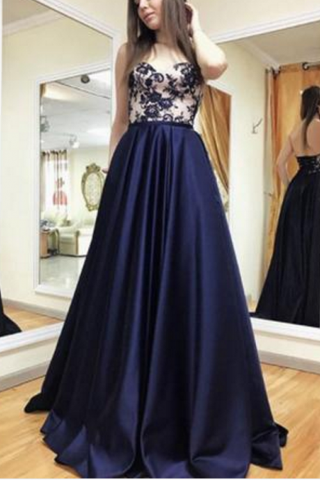 A Line Appliques Long Prom Dress, Sweethear Neck Formal Evening Dress