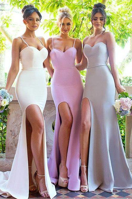 Spaghetti Strap Sweetheart Mermaid Bridesmaid Dress with Slit