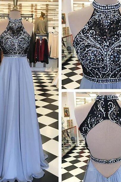 Sexy Beading Prom Dress with Open Back, Prom Dress 2018, A Line Prom Dress, Long Evening Dresses