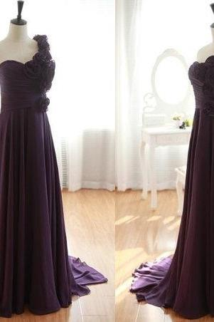 One Shoulder Purple Chiffon Prom Dresses, Purple Bridesmaid Dresses
