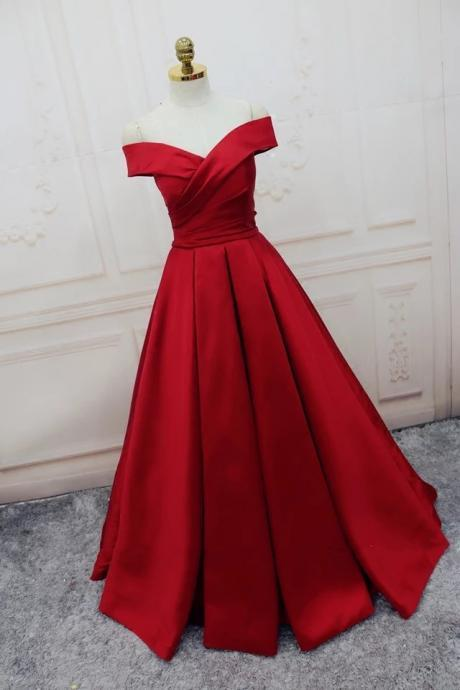 Plus Size A Line Prom Dress,Red Woman Evening Dress