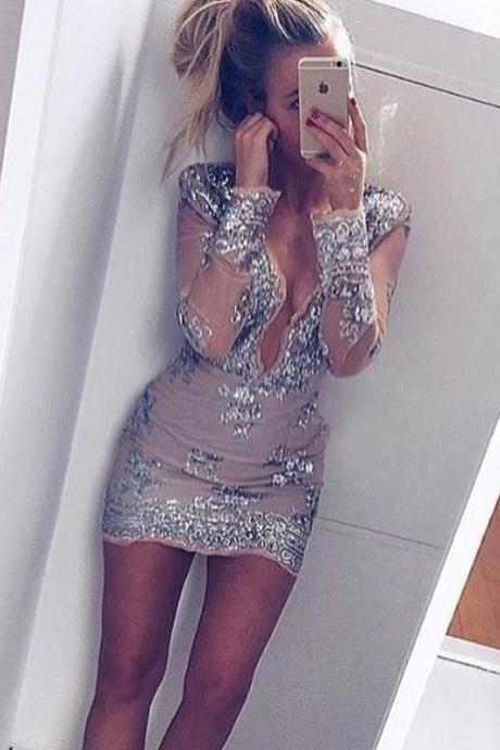 Sexy Sheath Deep V-Neck Long Sleeves Short Homecoming Dress with Sequins
