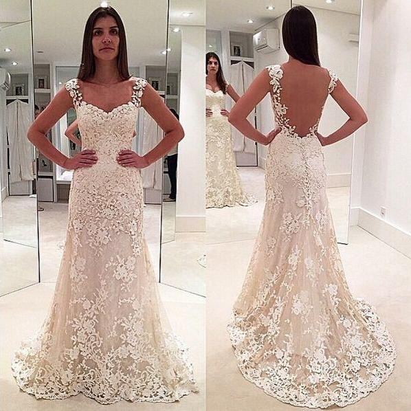 Wedding Dresses,Ivory lace wedding gowns,sleeveless mermaid formal evening gown,sheer back pron gown,long lace bridal dress,elegant bridal gowns