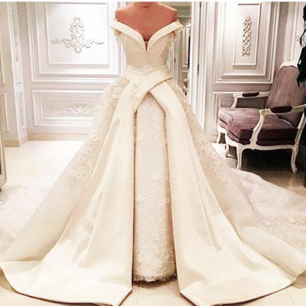 Custom Made White Off Shoulder Wedding Ball Gown with Lace Applique